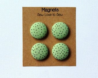 Fabric Covered Button Magnets / Green and Brown Polka Dot Magnet / Polka Dot Magnet / Strong Magnets / Refrigerator Magnets / Fridge Magnets