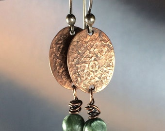 Etched Copper Earrings with Seraphinite