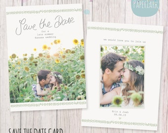 Save the Date Card Template - AW019 - INSTANT DOWNLOAD