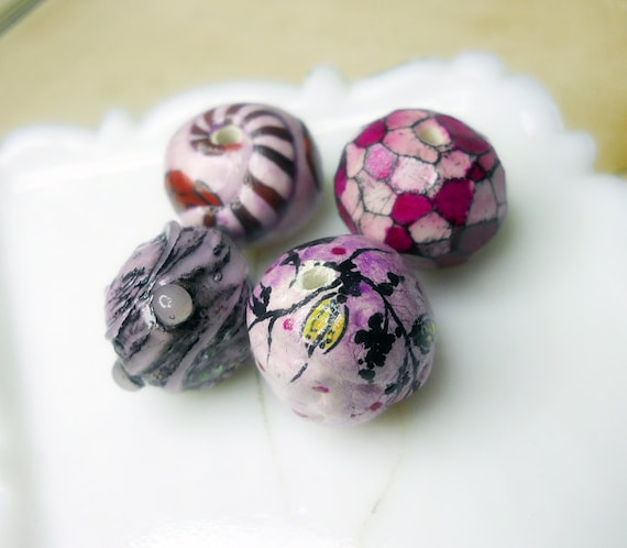 Polymer & Paper Clay Beads - 4 Rustic Glazed Fancy Pinks - Flowers, Faux Lampwork, Lilac Wash, Striped Sandworm - Millefiori - Chunky Clay