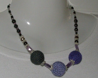 Purple and grey cotton necklace