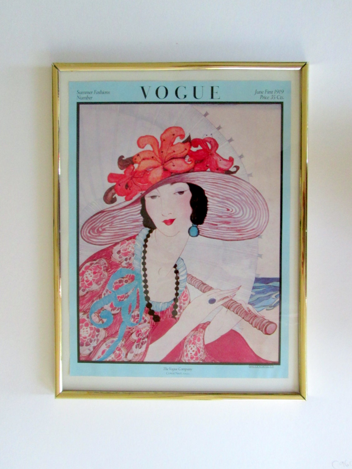 Vogue 1919 Magazine Cover Poster Framed By By Lyricalvintage