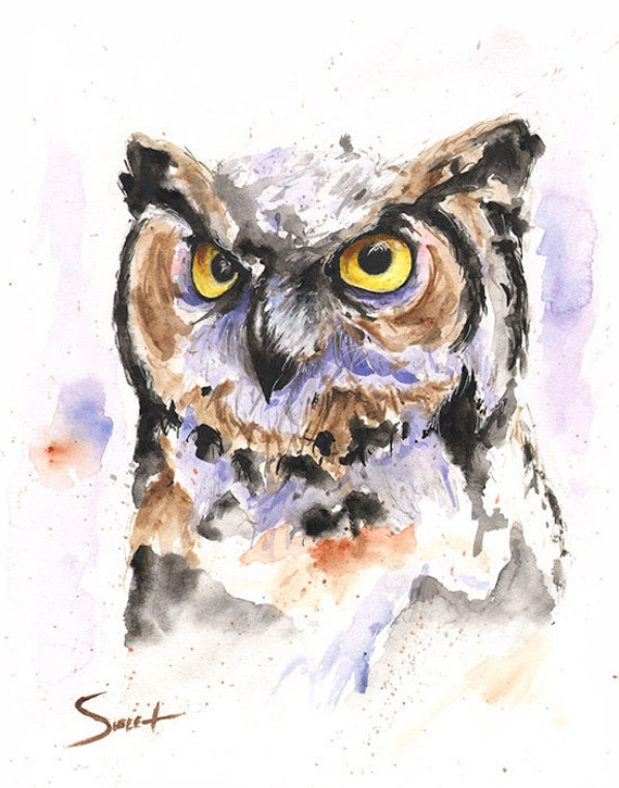 OWL ART abstract owl watercolor owl painting owl by ...