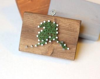 Alaska String and Nail Art Rustic Wood Ornament