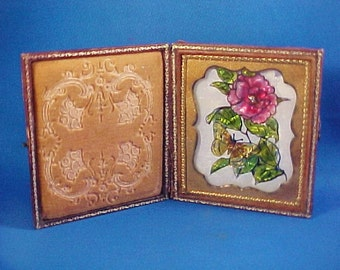 Antique Painting,  Miniature Reverse Painted Glass Tinsel Painting, in Daguerreotype Case