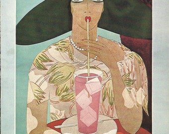 vogue magazine cover 1926 by meserole lady drinking straw fashion illustration vogue poster art deco home - Vogue Decor Magazine