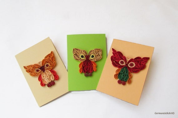 Owl stationary set of 3 quilled owl cards bird by for Quilling kitchen set