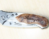 Custom Hunting Pocket Knife - Personalized Knife with  Engraved Burl Wood Overlay Handle - KNV-115