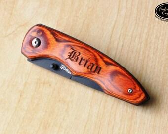 Personalized Engraved Pocket Knife with Pakkawood Handle  - Custom Folding Pocket Knife - KNV-110