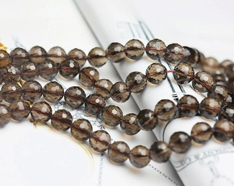 Faceted Grade AA Natural Smoky Quartz Beads, with 128 Facets, Round 6mm-14mm, 13.8 Inch Strand (GY28)