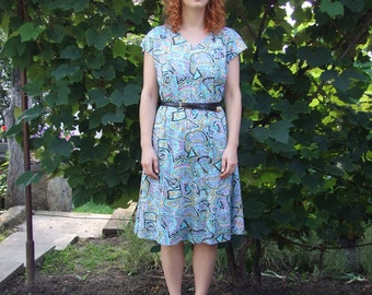 70's vintage women's colorful patterned dress