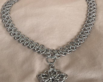 Stainless Steel Shenanigans Chain Maille Necklace With Celtic Star Pendant