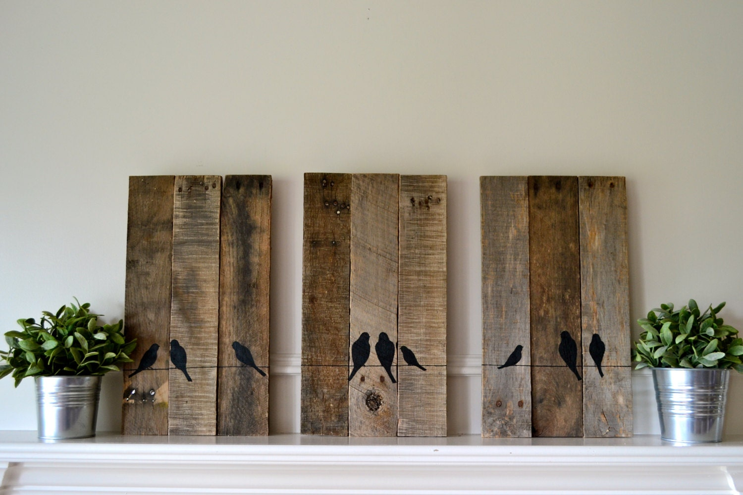 Reclaimed Wood Art Reclaimed Wood Art Set Three Panel Birds On A Wire Silhouette