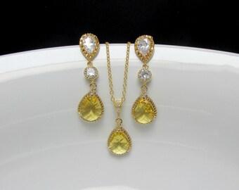 yellow gold bridal earrings , yellow zirconia earrings , bridal yellow earrings , bridesmaids jewelry , mother of bride jewelry , weddings