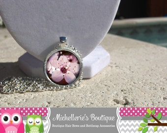 Cherry Blossom Necklace Cherry Blossom Pendant Cherry Blossom Jewelry Glass Cabochon Bezel Pendant Gifts for Her Cherry Blossom Bracelet