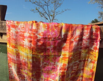 Hand painted silk scarf with Tie & Dye and hand print.