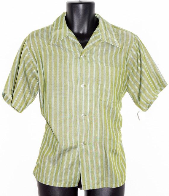 1960s mens cotton short sleeve shirt sz m vintage retro cruiser