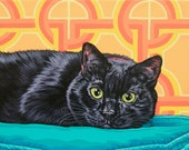 Custom Cat Portrait, Pet Cat Painting, 8x12 Black Cat Pop Art, Father's Day Gift, Personalized Cat Portrait, Memorial Pet Portrait
