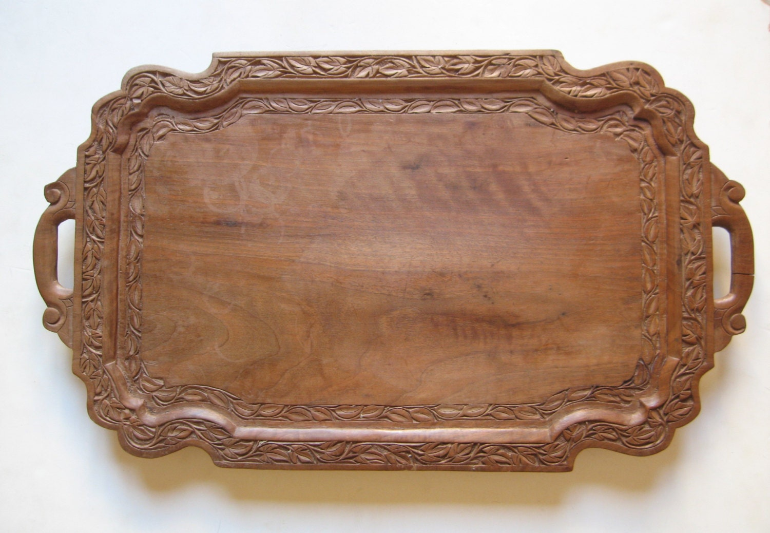 Vintage hand carved wooden serving tray