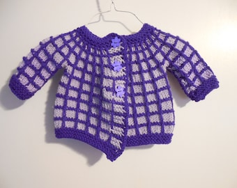 Purple and Lavender hand knit baby Sweater