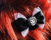 Punk Misfits Hair Bow, Black Bow Accessory with White Tulle Accents with Misfits Band Button