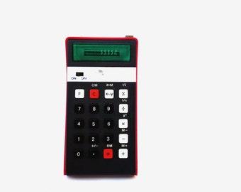 Vintage calculator Elka 131 red portable calculator pocket calculator led display desk accesories vintage school office supplies soviet 70s