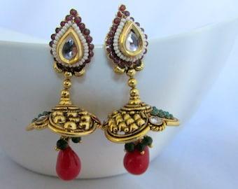 Ethnic Jhumka Earrings with Red Dangles