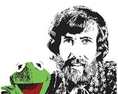 Jim Henson and Kermit the Frog Art Print - Multiple Sizes Available - Visionary and Puppeteer - Great Gift For Anyone Who Loves the Muppets