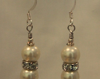 Faux Pearl with Crystal Spacer Earrings
