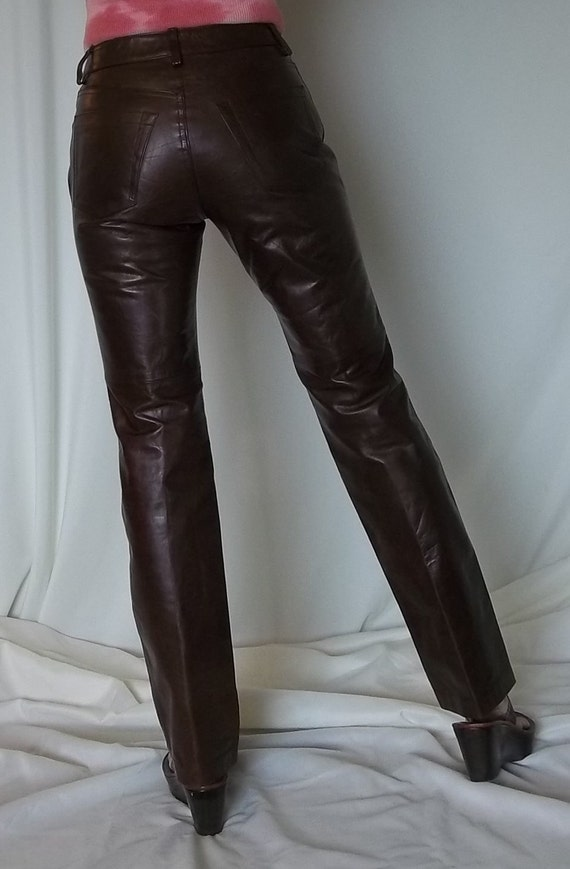 VINTAGE Brown Leather CLASSIC Gap Leather Jeans Pants Slim