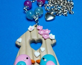 Necklace Birds with House made of Fimo