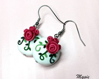 Roses and Leaves Earrings - Handmade in Polymer Clay