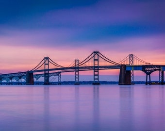 Chesapeake Bay Bridge, from Sandy Point State Park, Maryland - Landscape Photography Fine Art Print or Wrapped Canvas Home Decor