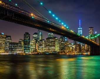 The Brooklyn Bridge and Manhattan Skyline at night seen from Brooklyn Bridge Park, New York - Photography Fine Art Print or Wrapped Canvas