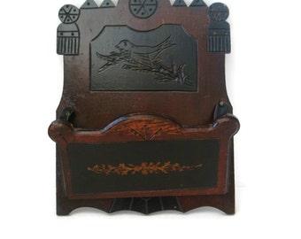 Antique folk art walnut wall box, hand carved bird detail, early 1900's