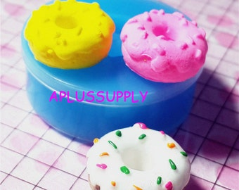 TYL001 Donut / Doughnut with Sprinkles Silicone Flexible Push Mold Miniature Food Sweets Jewelry Charms Clay Fimo Epoxy Fondant