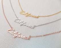 California necklace....Gold, Silver, Rose Gold California necklace