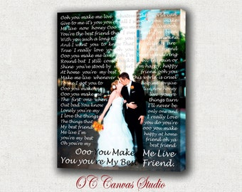 Custom Canvas Print Gift.  Your photo with  Wedding Song, Lyrics, Vows, Poem to your Canvas.  Wedding or Anniversary Gift.