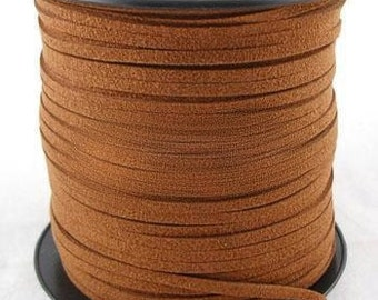 Brown Suede Cord - Microfiber Faux Suede Cord - 5 yards - 15 feet-  3mm x 1.5mm- Jewelry making String Material  -W008