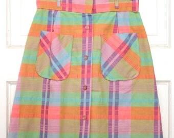 Vintage Skirt, Vintage Plaid Skirt, Plaid Skirt, Pastel Skirt, Spring Skirt, Vintage Pastel Skirt, Vintage Spring Skirt, Pink & Green Skirt