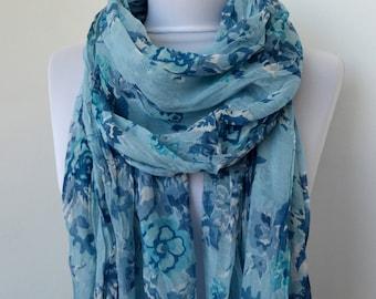 Floral Fashion Scarf - Multicolor Scarf - Trendy Fabric Scarf - Shawl Flower Garden   892