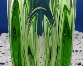 SALE -- Mid century Sklo Union Czech bohemian Green Glass'Lens' vase from Rosice glassworks, 1950s