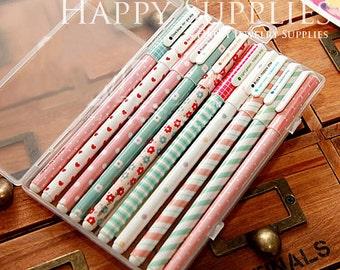 Set of 10 Color Korean Cute Stationery DIY Painting Drawing Watercolor Marker Pen Brush for Text Liner, Scrapbook (PEN11)