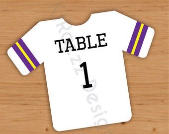 """6"""" Folded Football Jersey Table Numbers - Pack of 10"""