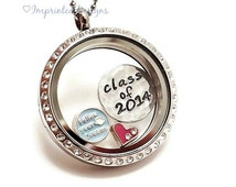 Graduation Floating Charm Locket/ Follow Your Dreams/ Hand Stamped Necklace