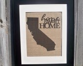"""Any State California shown with """"home sweet home""""  design sign on real burlap"""