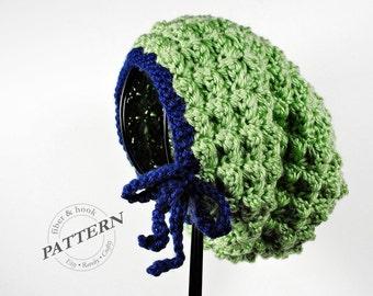 CROCHET PATTERN - Bitty Bow Slouchy Beanie Pattern, Slouchy Hat Pattern, Slouch Beanie, Bow Beanie (Toddler, Child, Adult Sizes) pdf #021H
