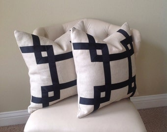 Set of 2: Tan Linen with Black Ribbon Embellished Pillow Cover
