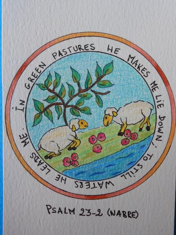 Articoli simili a vivaio bibbia versetto arte salmo 23 for Arredamento pastore