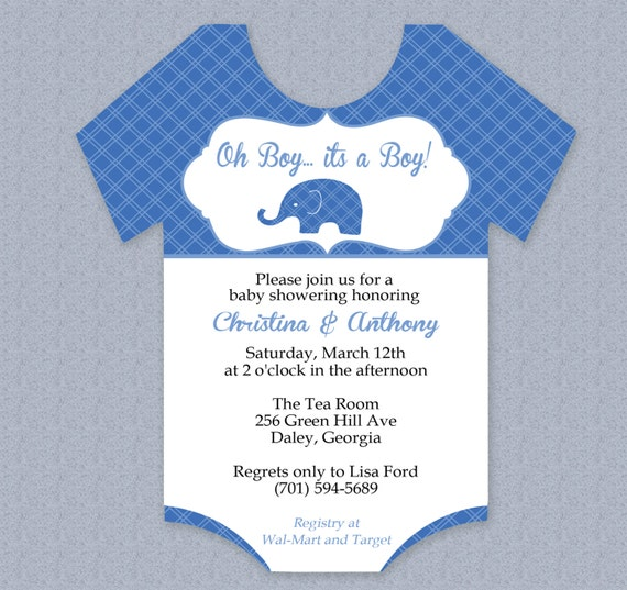DIY (Do It Yourself) Plaid Elephant Onesie Baby Shower Invitation    Editable Cutout Template   Microsoft Word Format  Baby Shower Invitation Template Microsoft Word